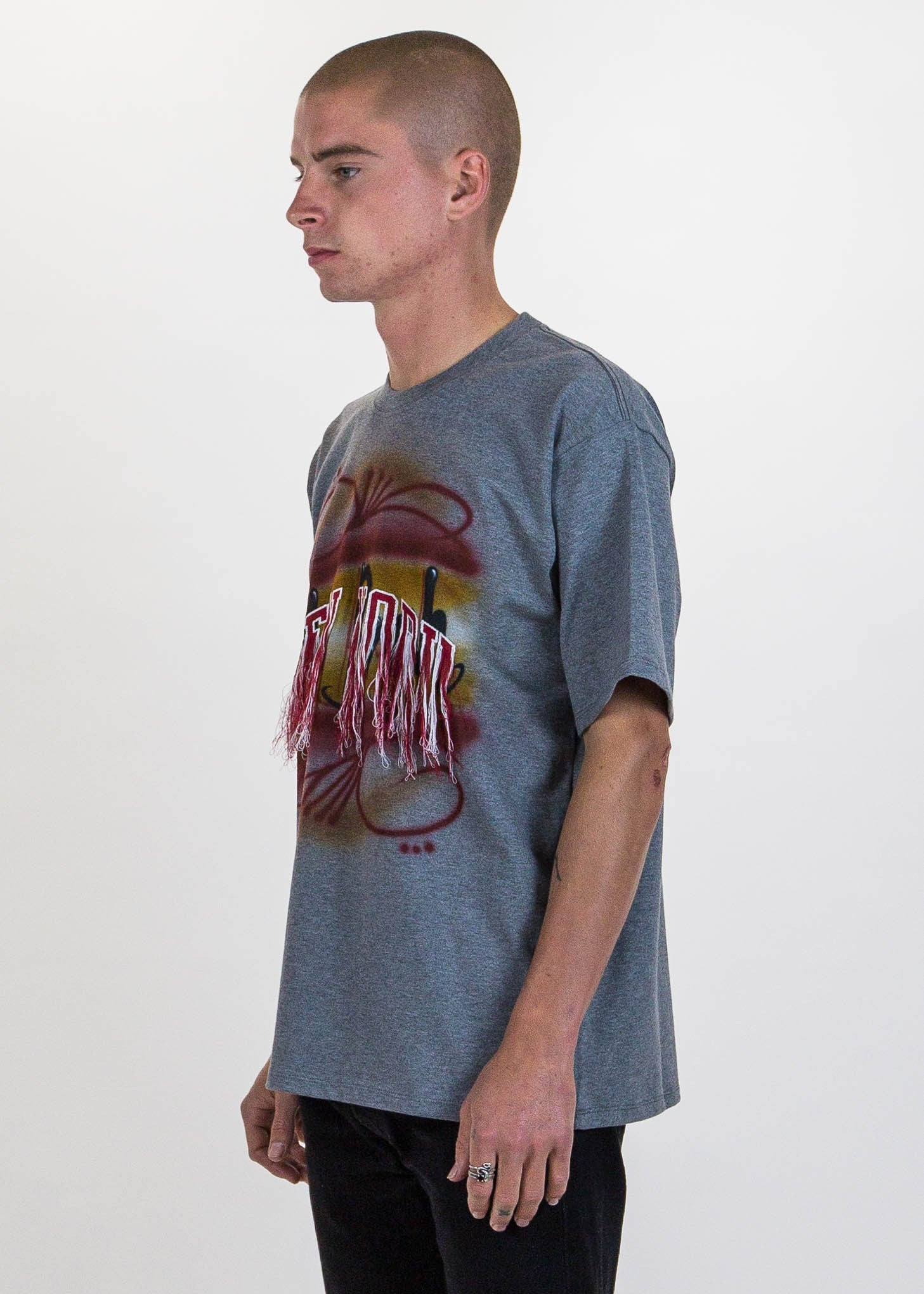 Grey Fringe Embroidery Air Brush T-Shirt