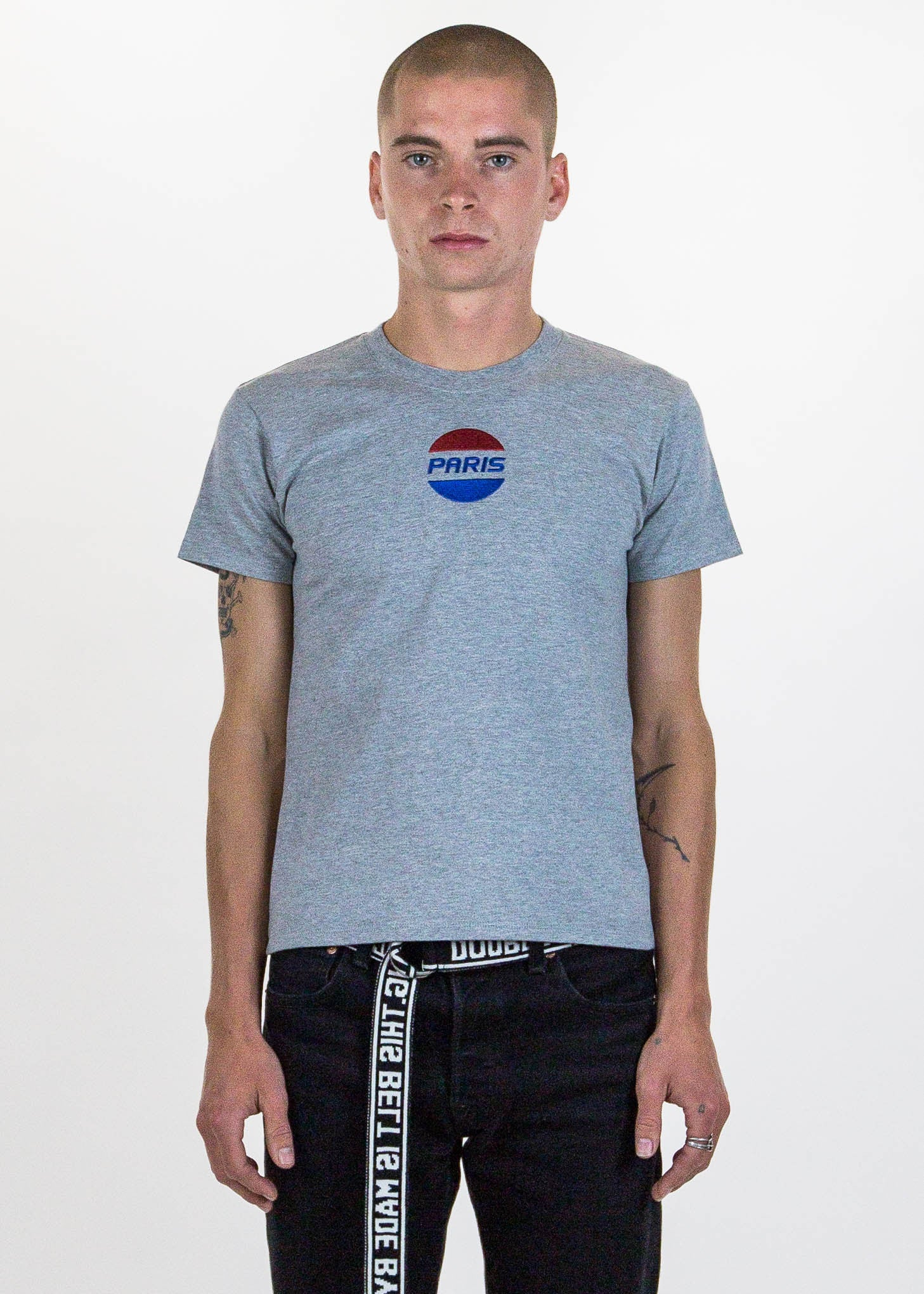 "Grey ""Paris"" Embroidery T-Shirt"