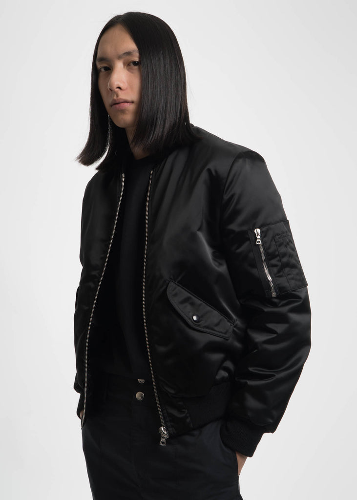 Black Nylon Mack Bomber