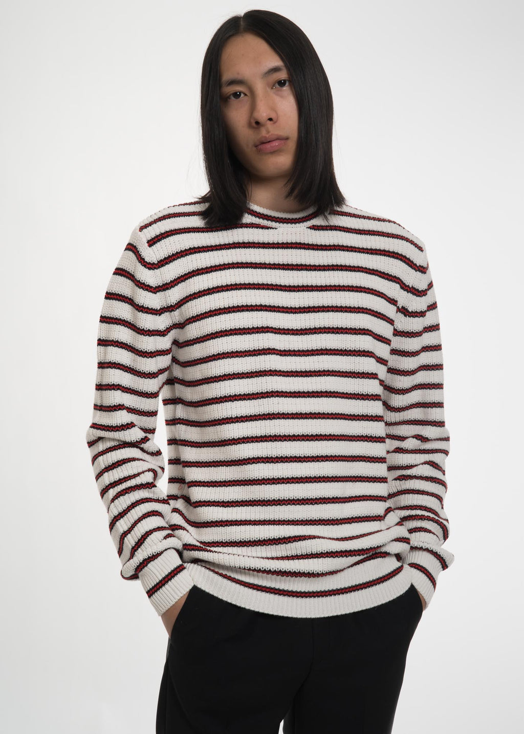 Ecru Striped Warrick Knit Sweater