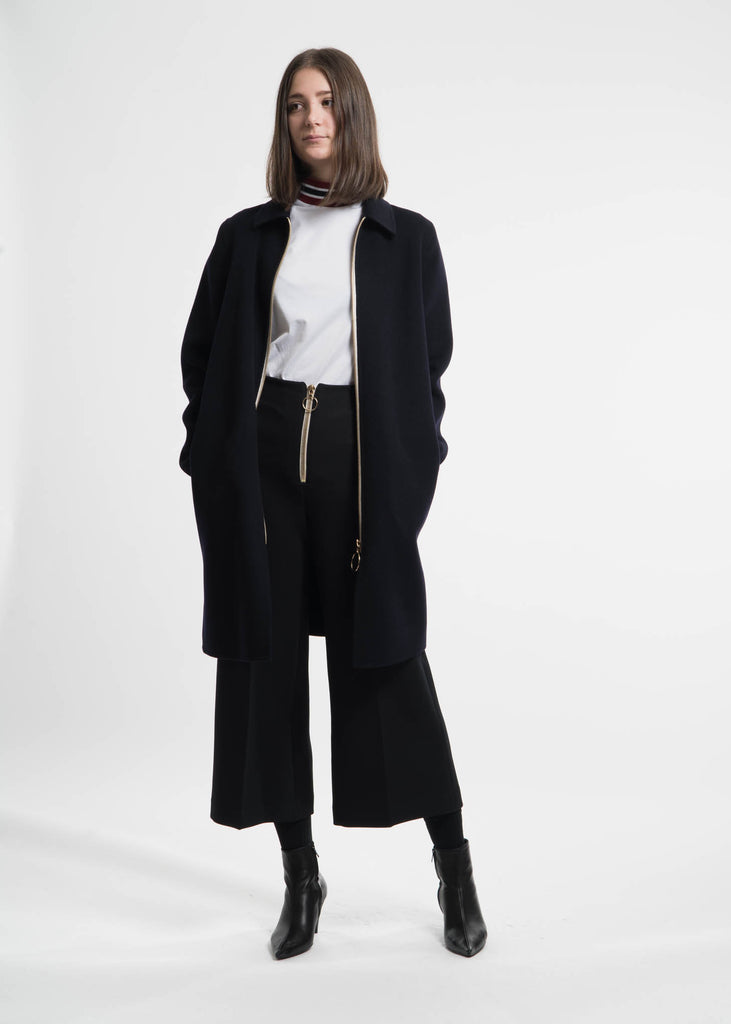 Navy Cashmere Wool Blend Maelis Coat