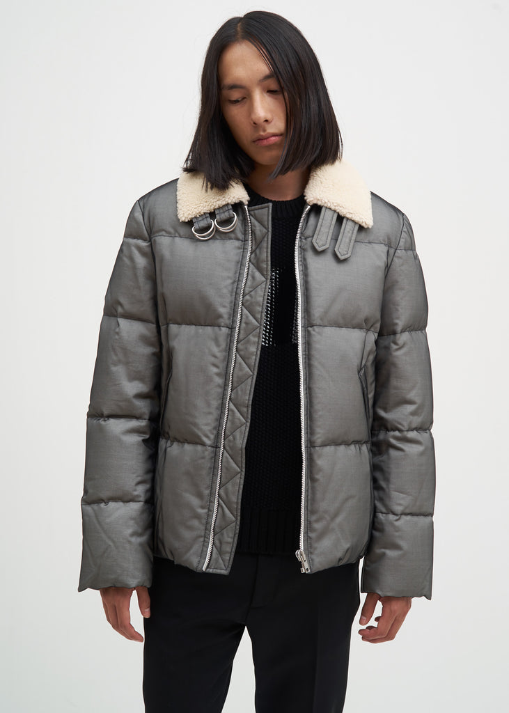 Helmut Lang, Black Band Zip Silk Puffer, 017 Shop