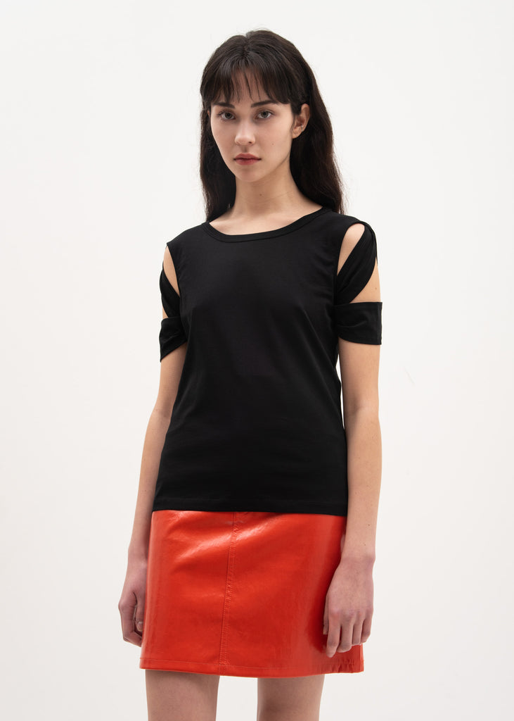 Helmut Lang, Black Bondage Sleeve T-Shirt, 017 Shop