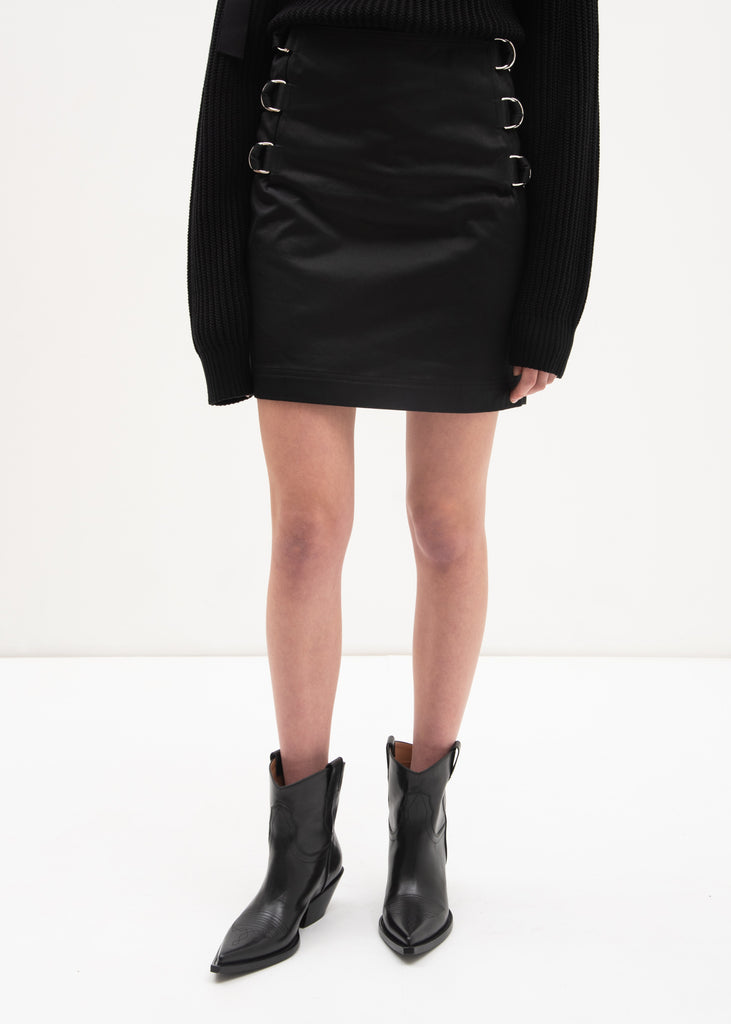 Black Buckled Satin Skirt