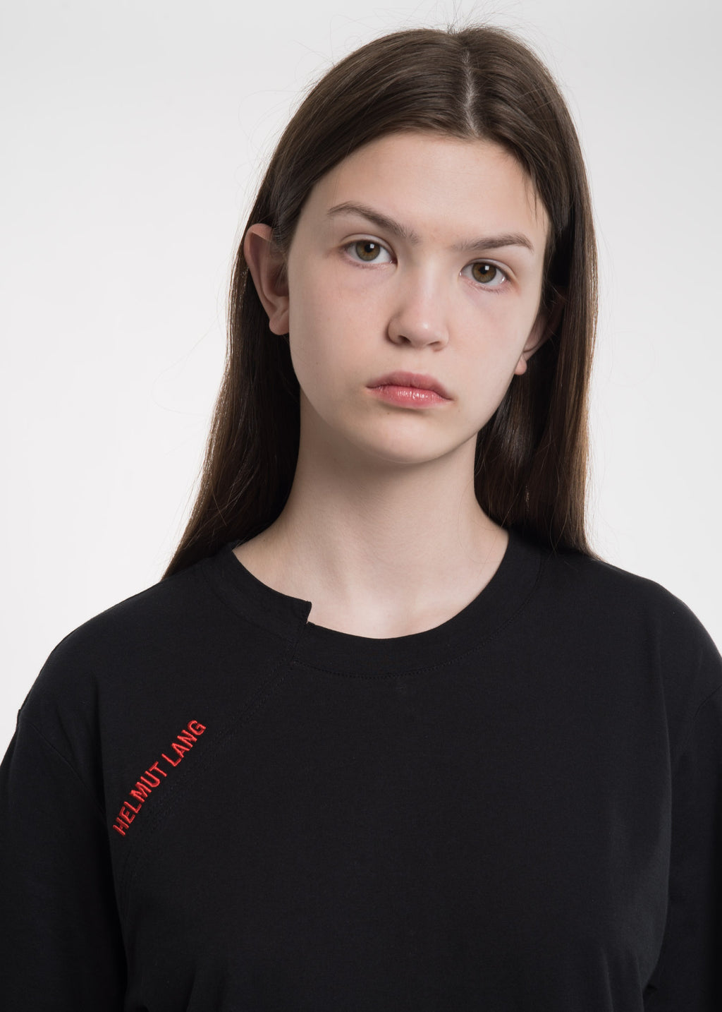 Helmut Lang, Black Cut Neck T-Shirt, 017 Shop