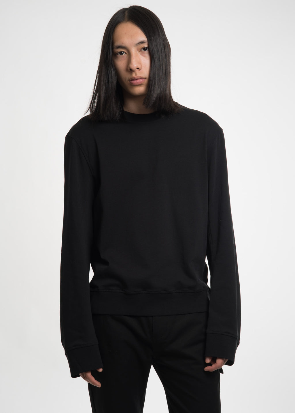 Black Drape Back Crewneck