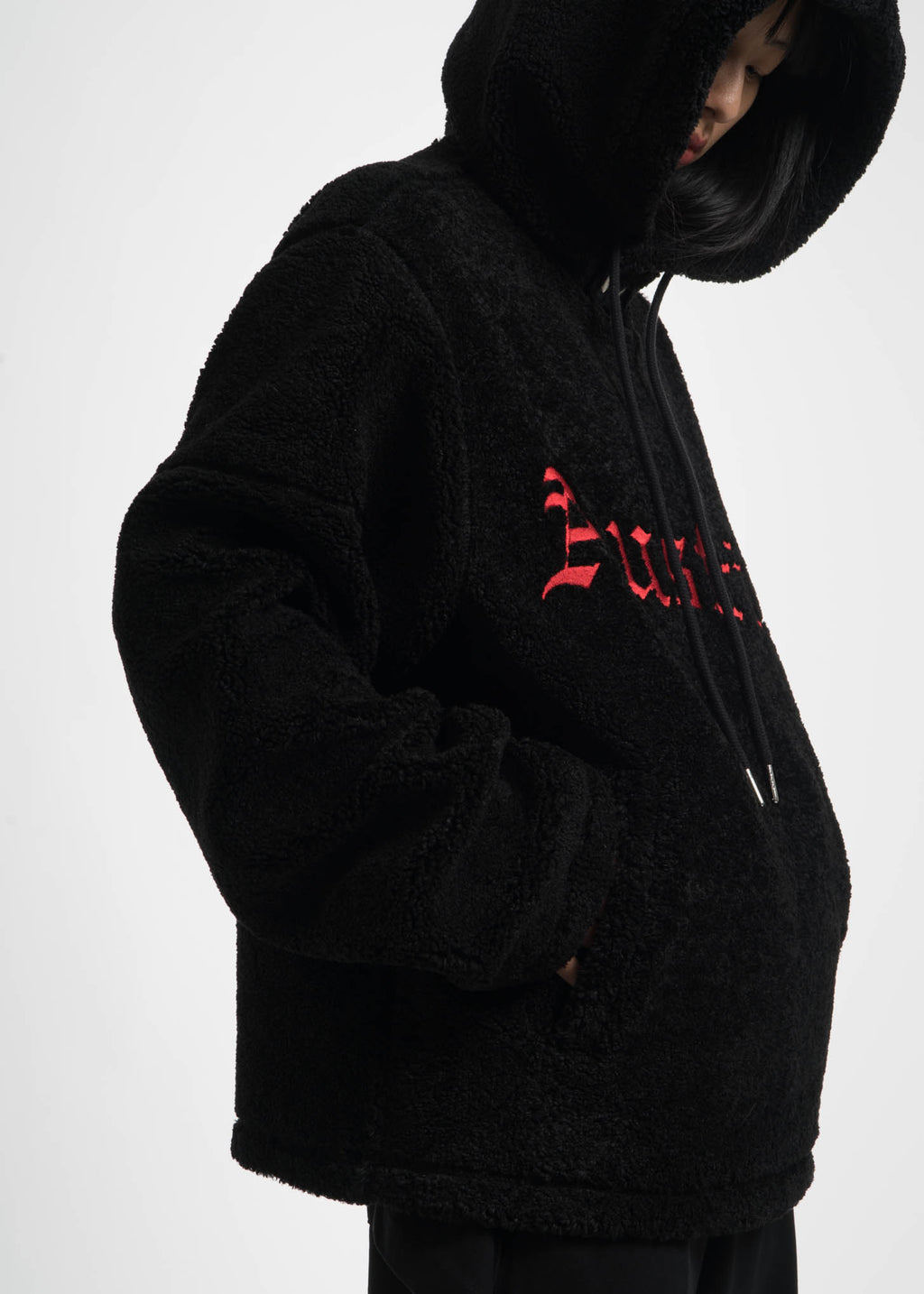 Black Embroidered Sherpa Hoodie