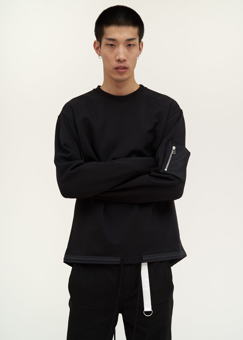 Helmut Lang, Black Fishtail Crewneck, 017 Shop