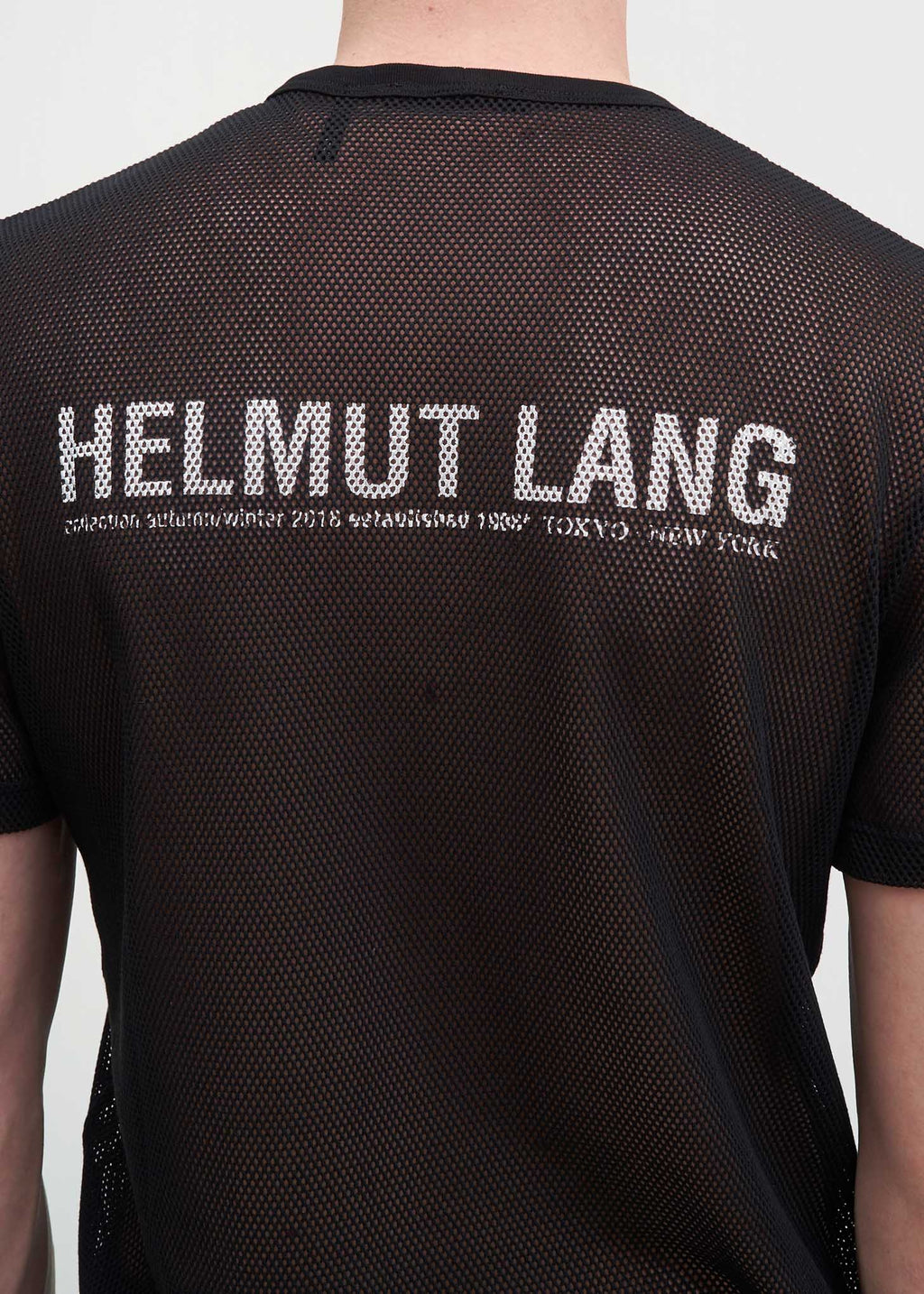 Helmut Lang, Black Logo Mesh T-Shirt, 017 Shop
