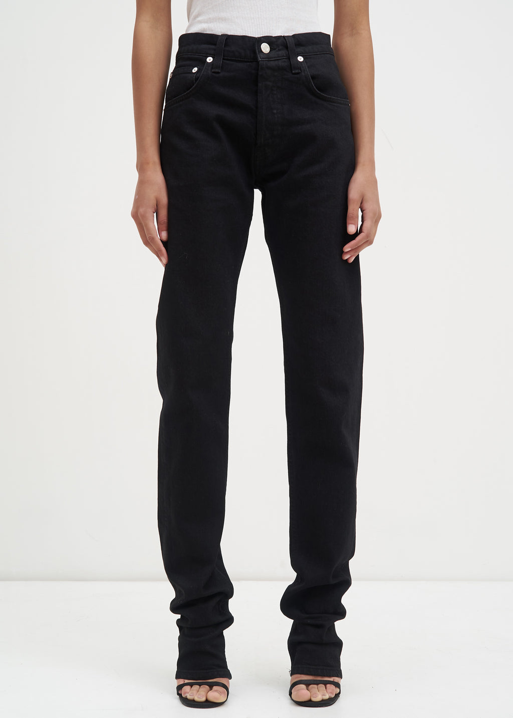 Black Masc Hi Drainpipe Jeans in Black