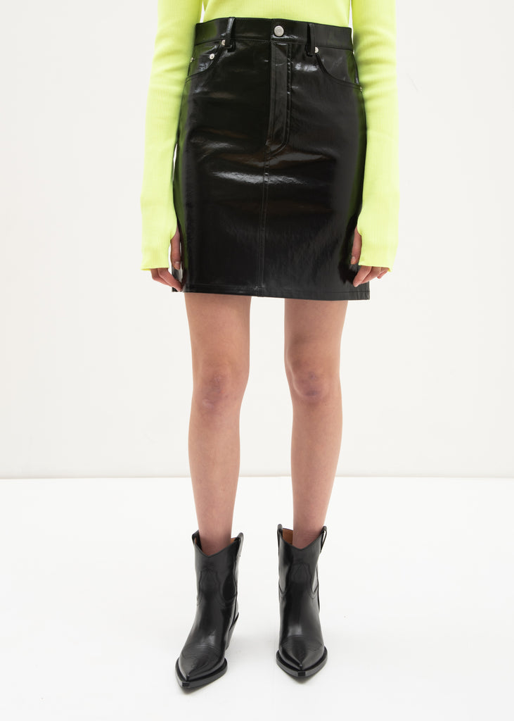 Black Patent Five Pocket Leather Skirt