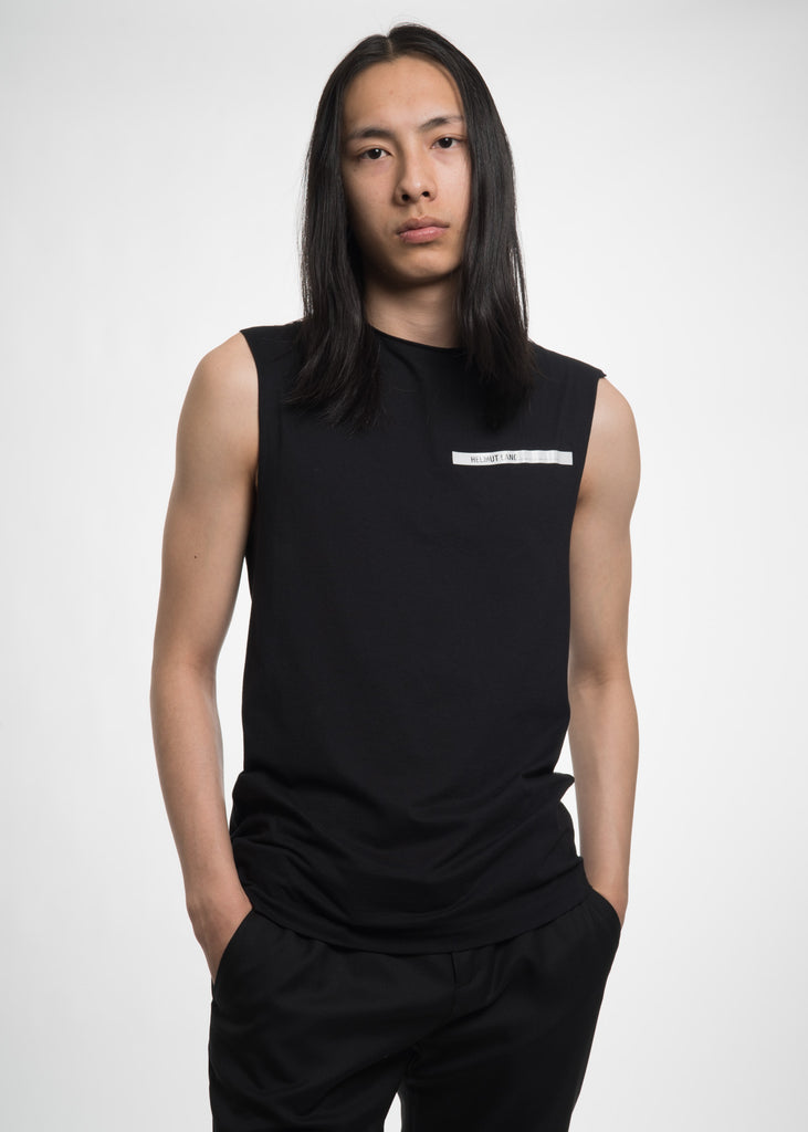 Black Raw Edge Muscle Tank