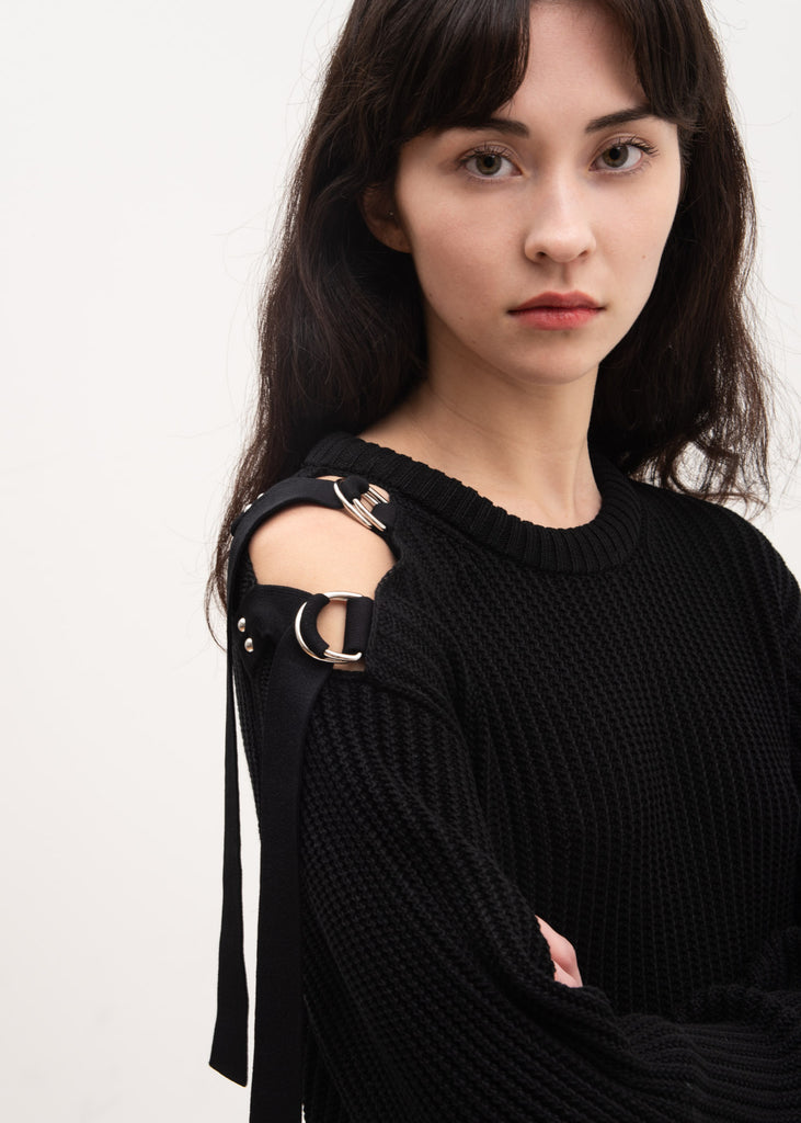 Black Shoulder Strap Crewneck