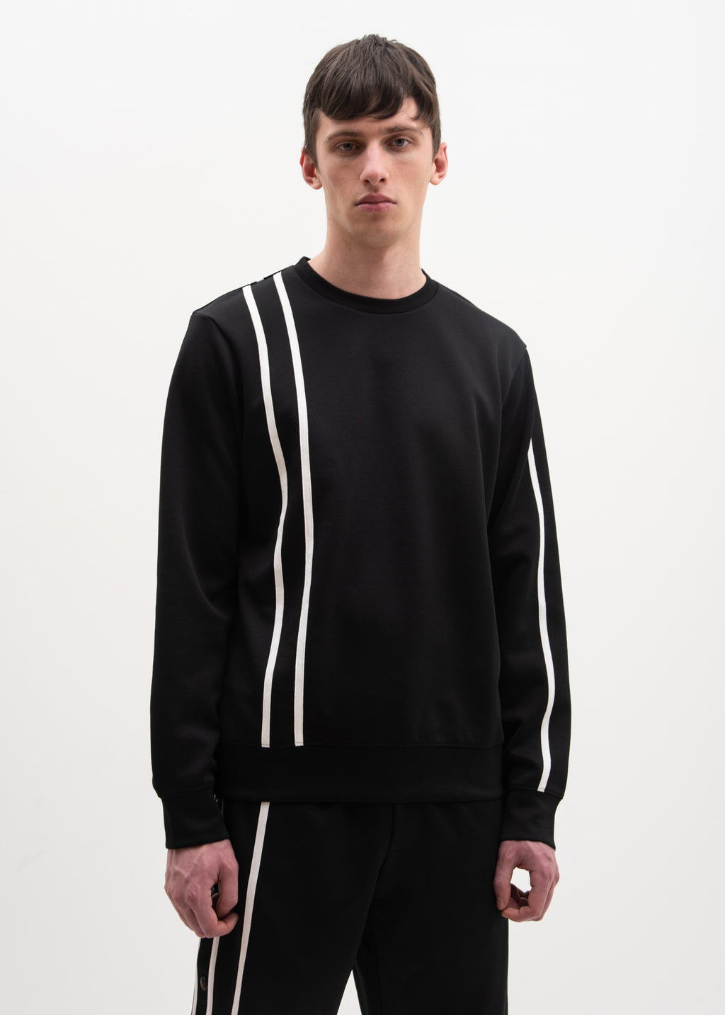 Helmut Lang, Black Sport Stripe Sweatshirt, 017 Shop