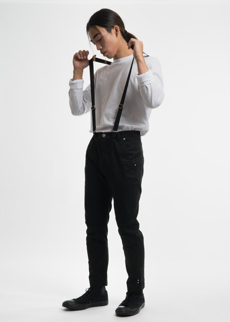Dark Green Crop Suspender Trousers