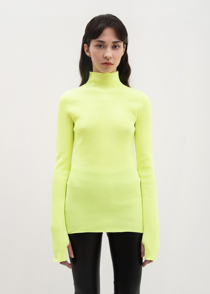 Green Long Sleeve Mock Neck