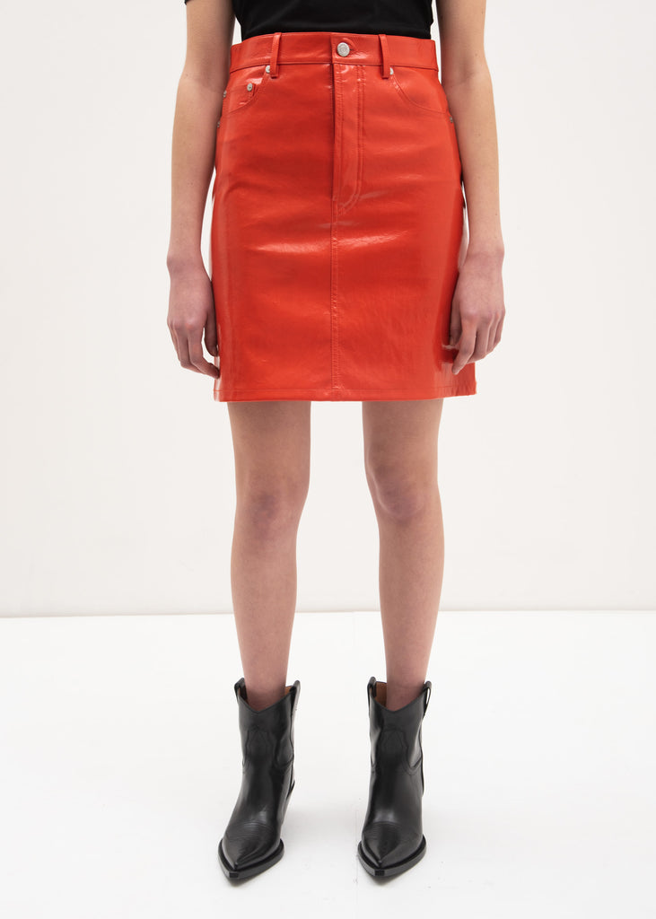 Magma Patent Five Pocket Leather Skirt