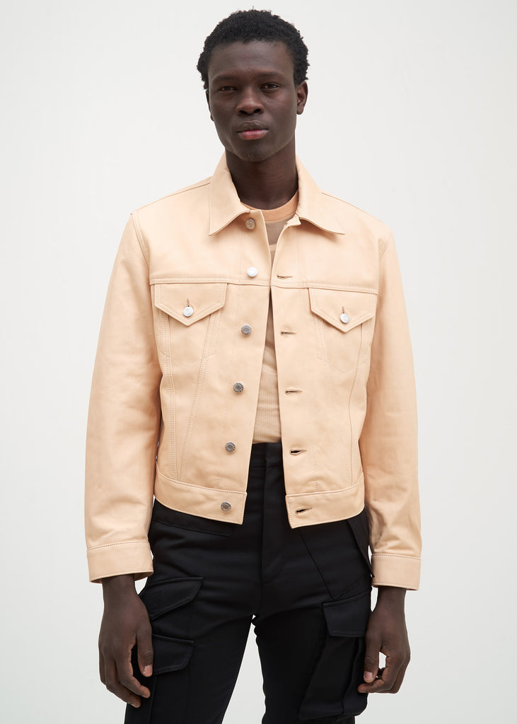 Natural Lamb Leather Masc Trucker Jacket