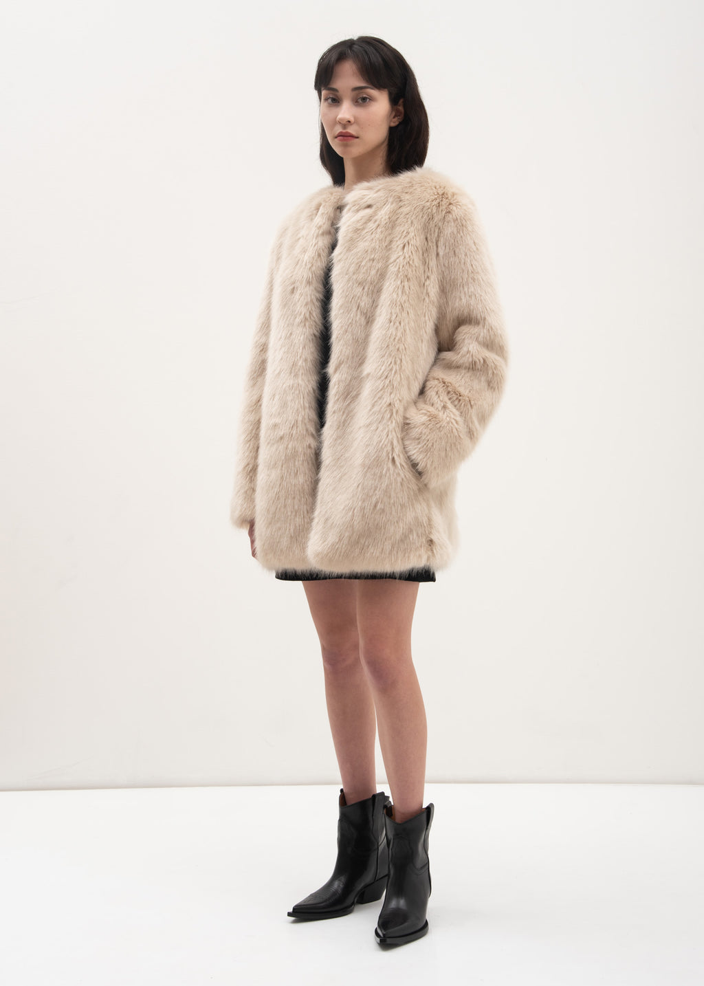 Oatmeal Faux Fur Coat