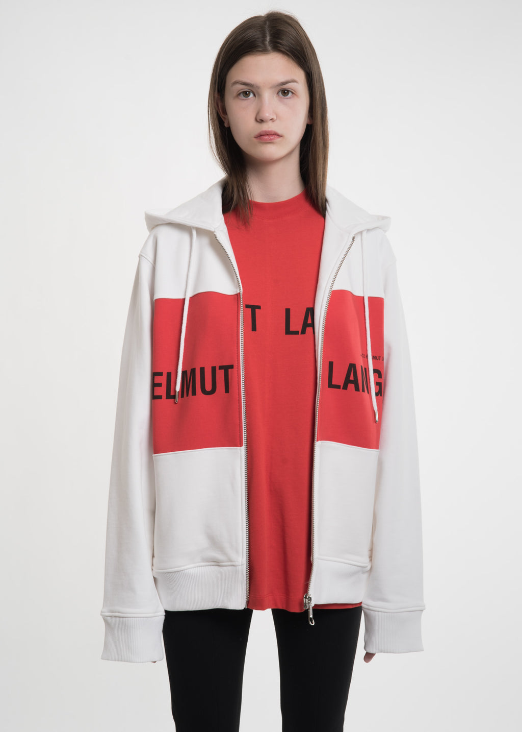 Red Panel Campaign Zip Hoodie