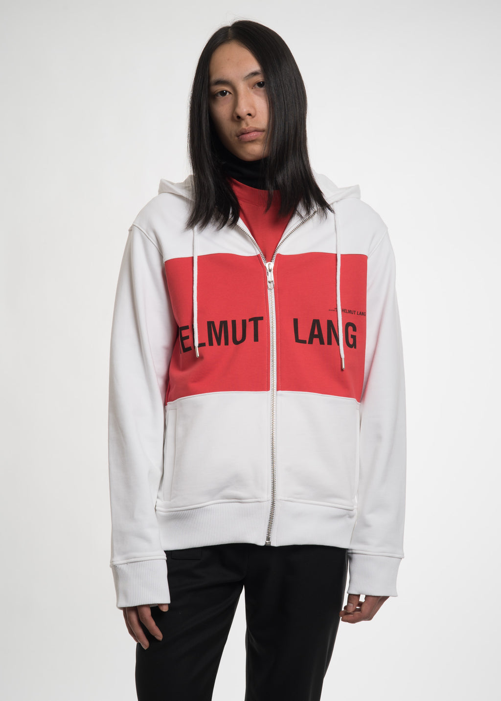Helmut Lang, Red Panel Campaign Zip Hoodie, 017 Shop