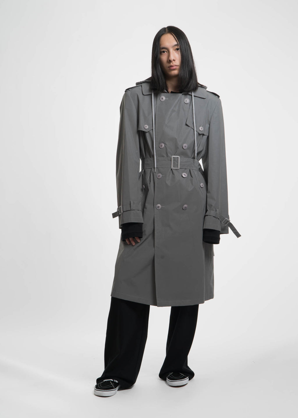 Reflective Hooded Trench Coat