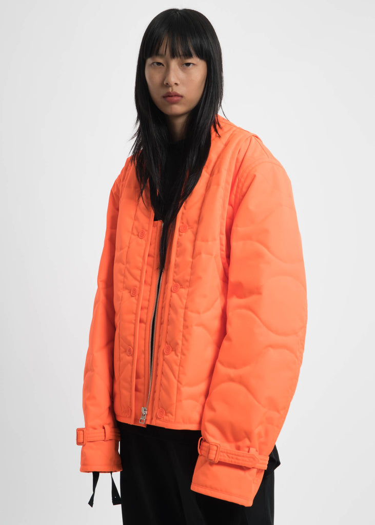 Safety Orange Quilted Throw On Jacket