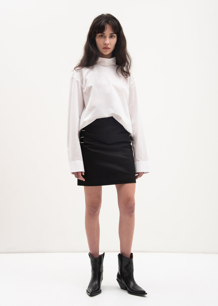 White High Neck Utilitarian Shirt