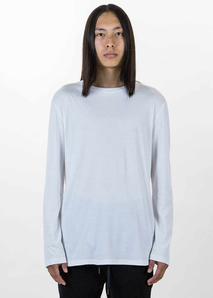 Helmut Lang, White LS Tee Brushed Jersey, 017 Shop