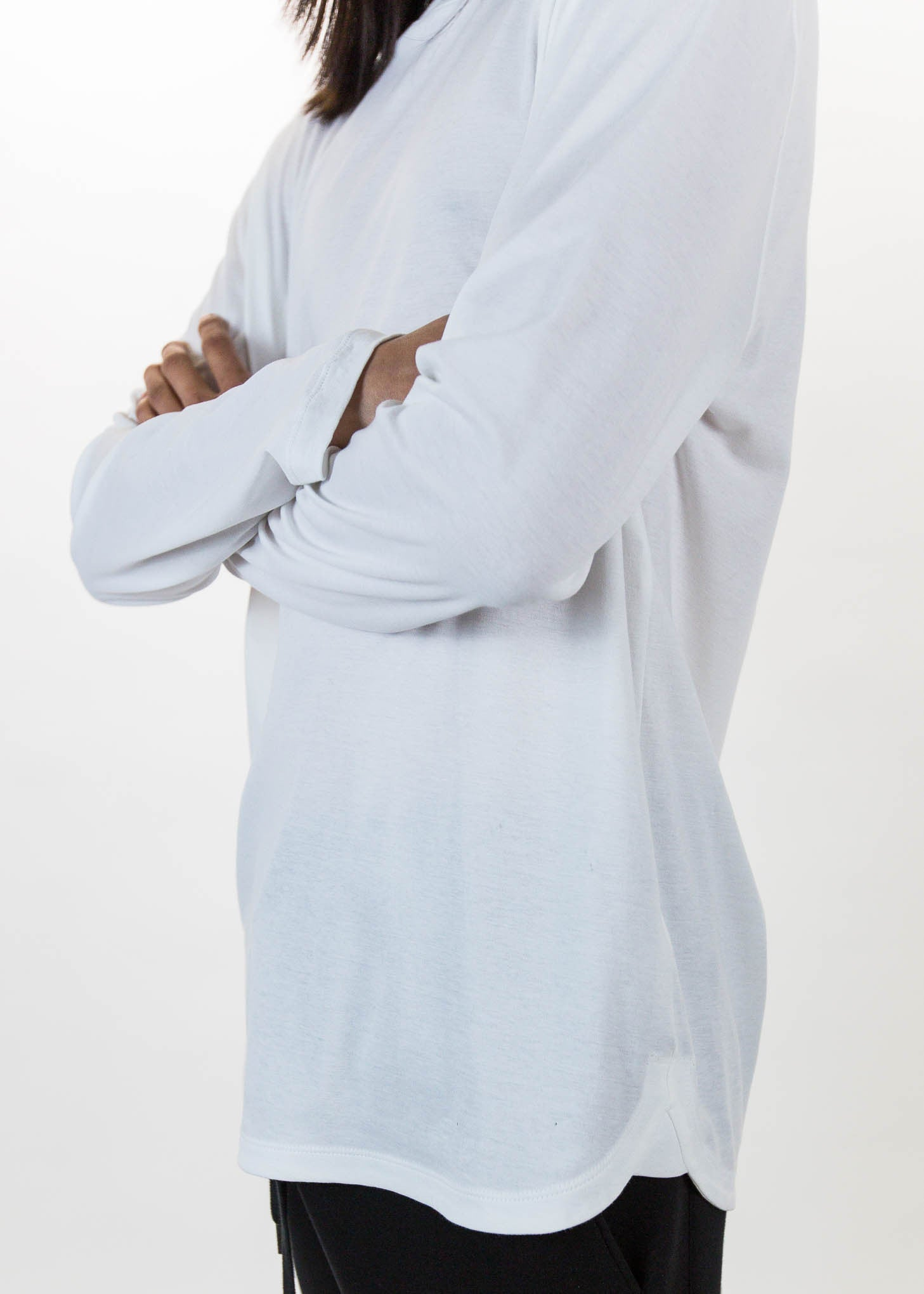 White LS Tee Brushed Jersey