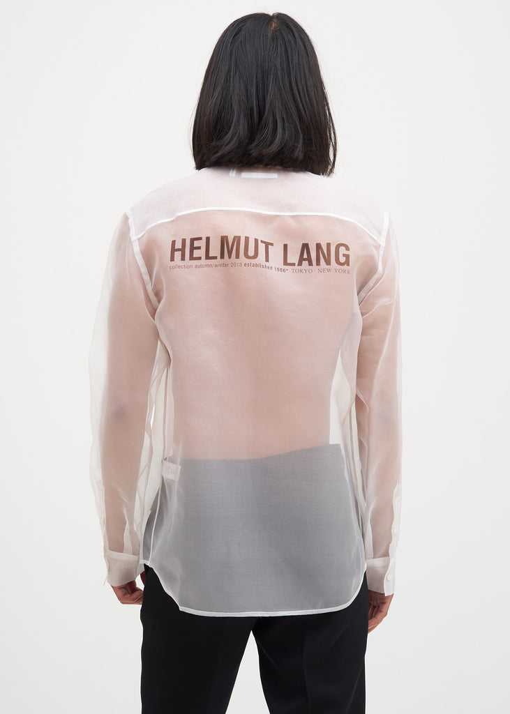 Helmut Lang, White Silk Logo Shirt, 017 Shop