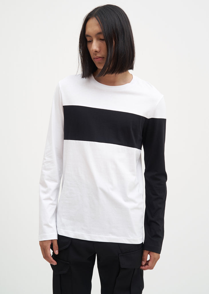 White and Black Band Logo Long Sleeve