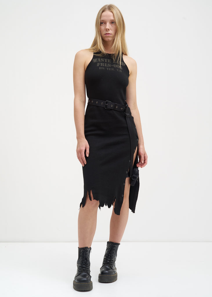 Black Distressed Jersey Dress