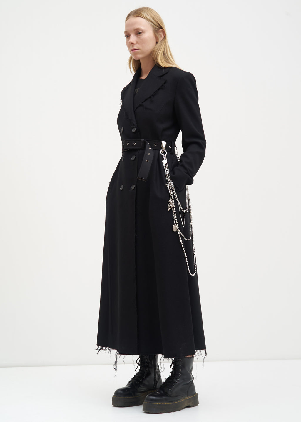 Black Distressed Wool Coat