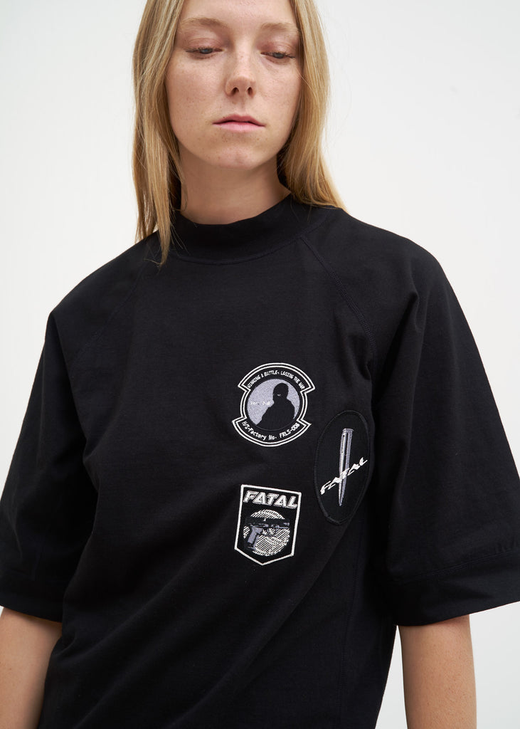 Black Embroidered Army T-Shirt