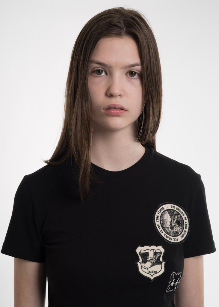 Black Embroidered Patch T-Shirt