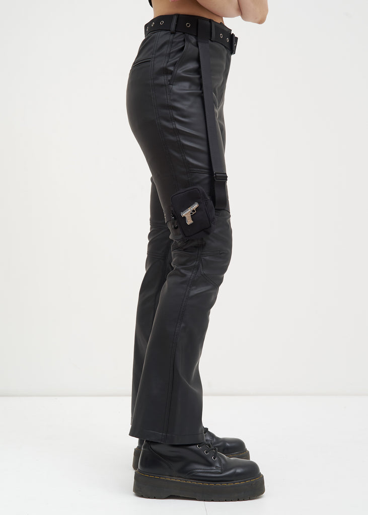 Black Faux Leather Pants w/ Garter Belt