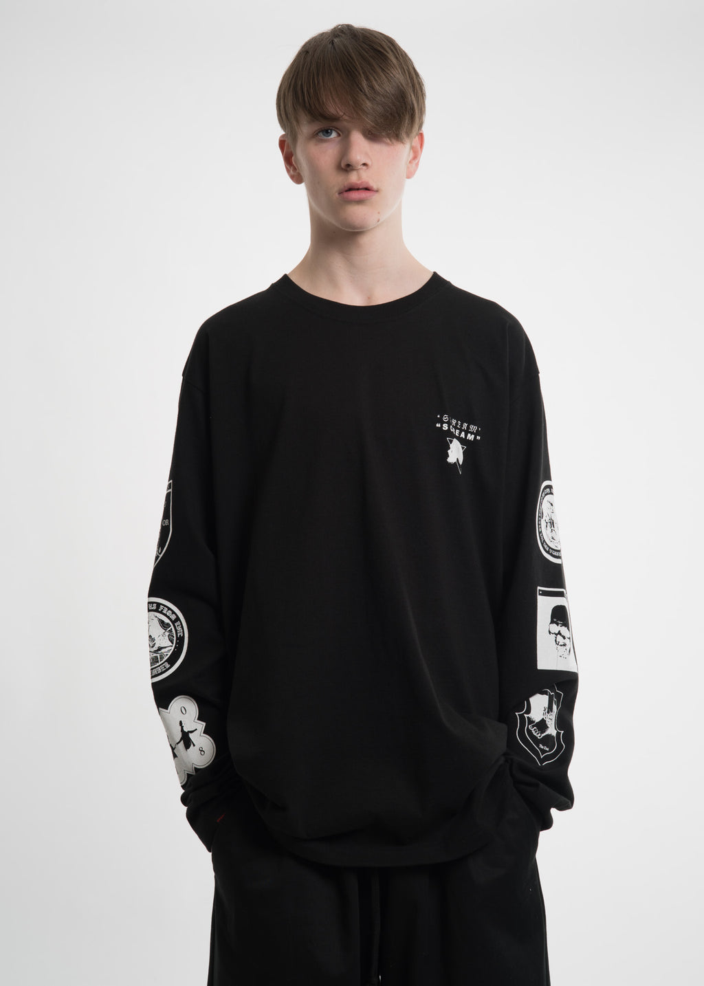 Black Graphic L/S T-Shirt