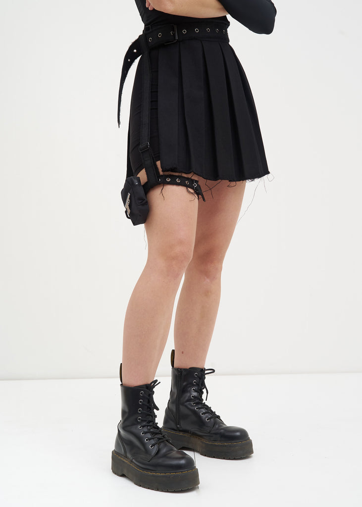 Black Wool Skirt w/ Garter Belt