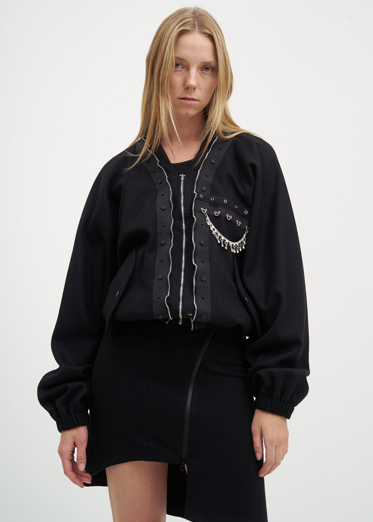 Black Zip Up Blouson
