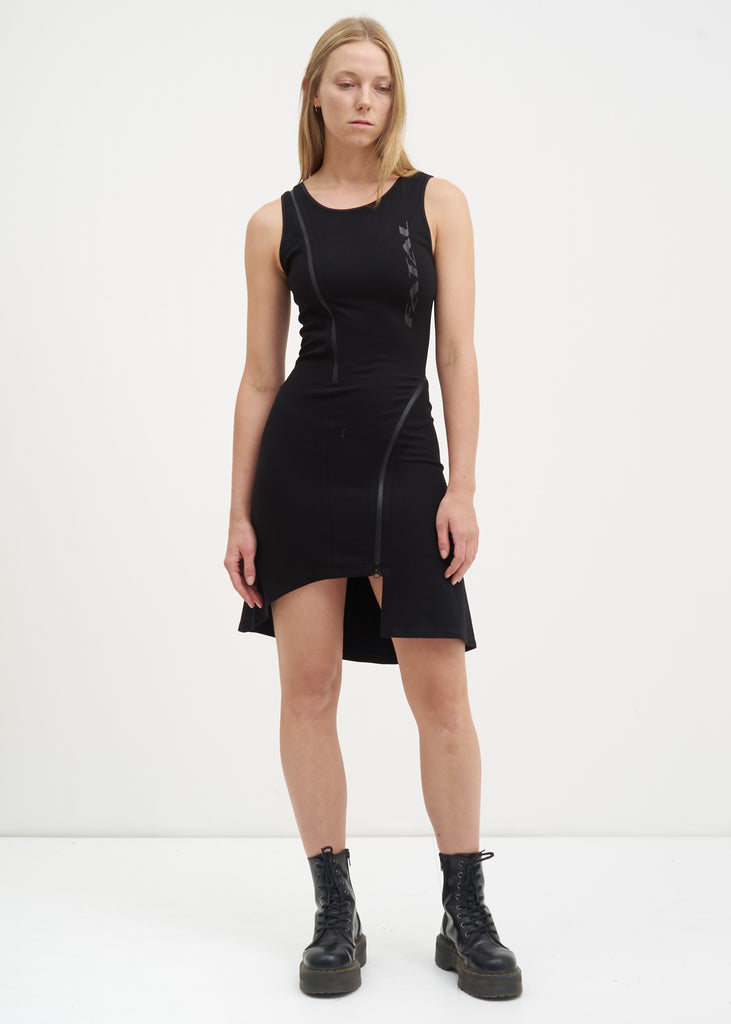Black Zippered Jersey Dress