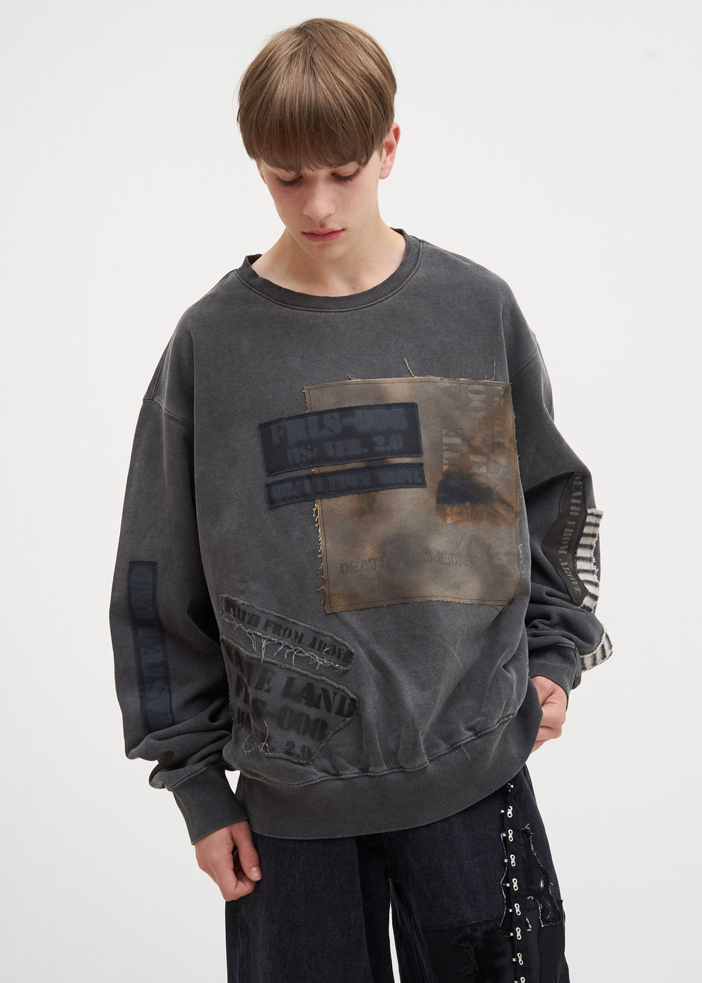 Grey Distressed Patchwork Sweatshirt