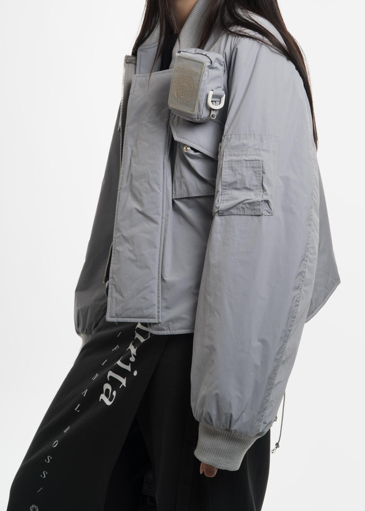 Grey MA-1 with Cigarette Pouch