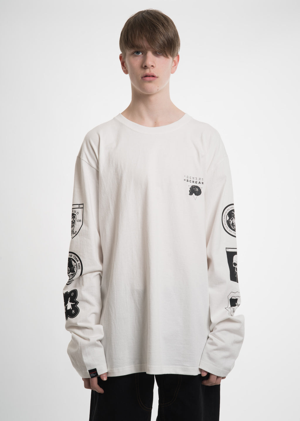 White Graphic L/S T-Shirt