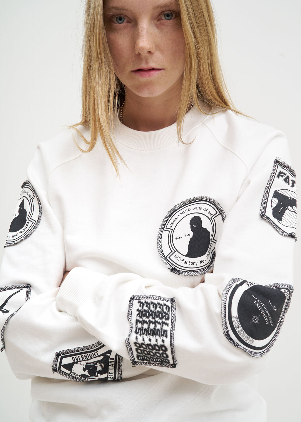 White Patchwork Sweatshirt