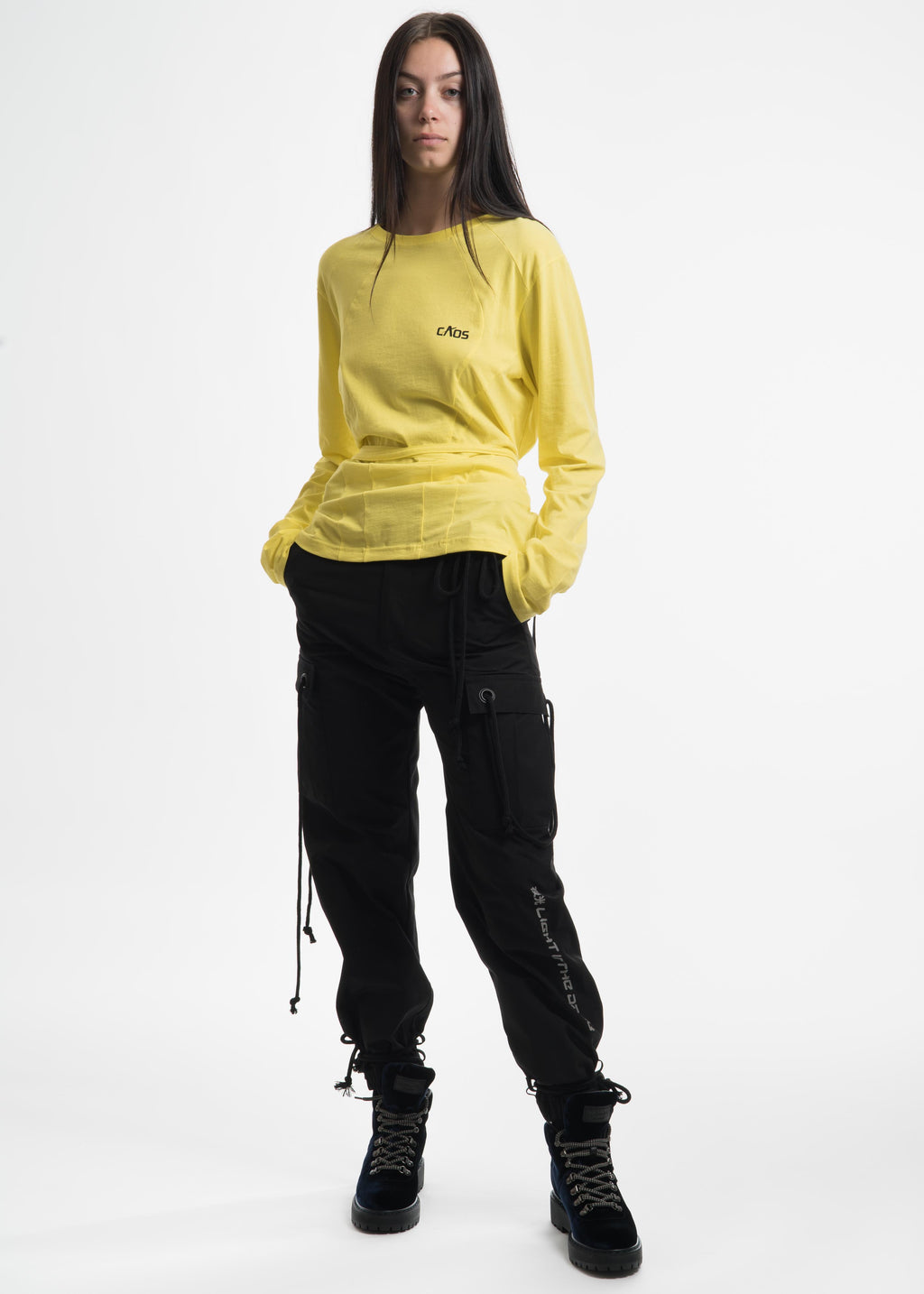 "Yellow ""Caos"" Strap Long Sleeve T-Shirt"