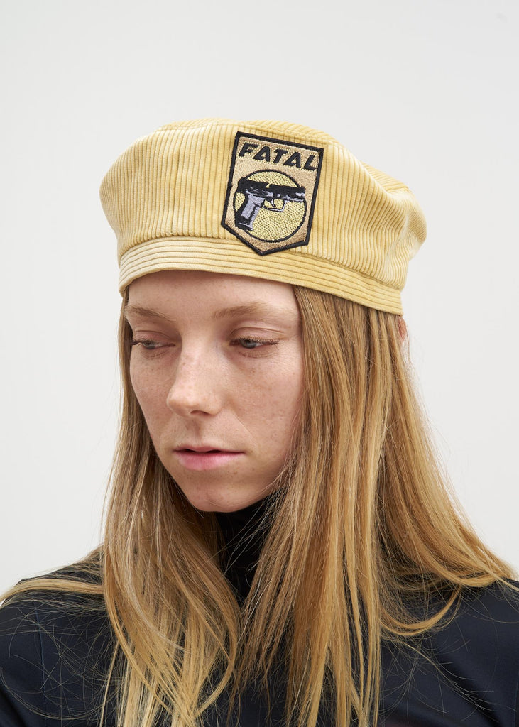 Yellow Corduroy Beret