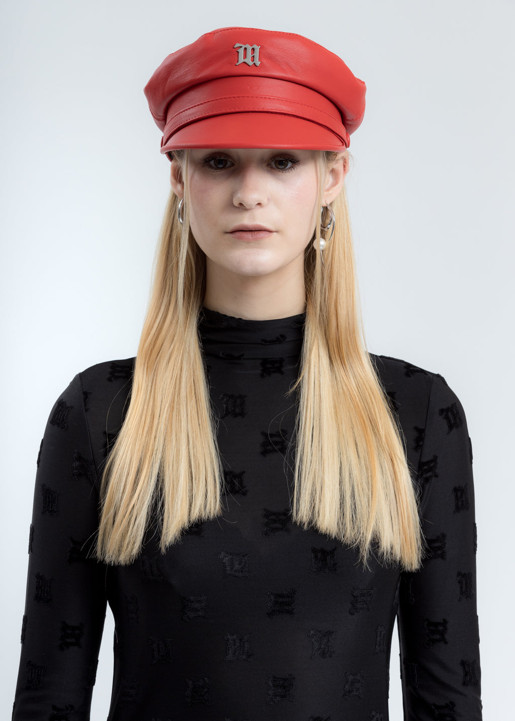 Red Vegan Leather Monogram Gavroche Cap