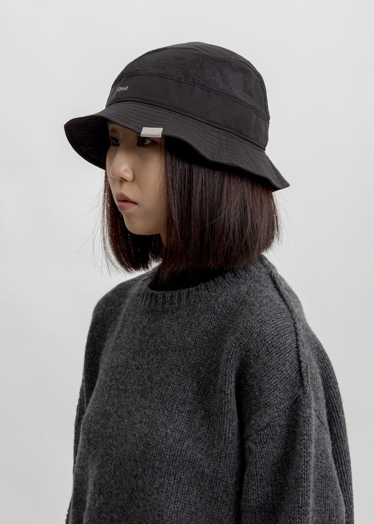 Black Mesh Panelled Nylon Bucket Hat