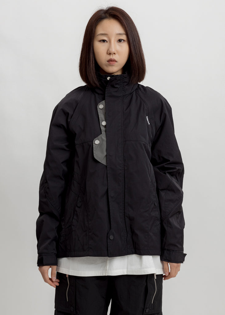 Black Panelled Intervein Stitch Convertible Track Jacket